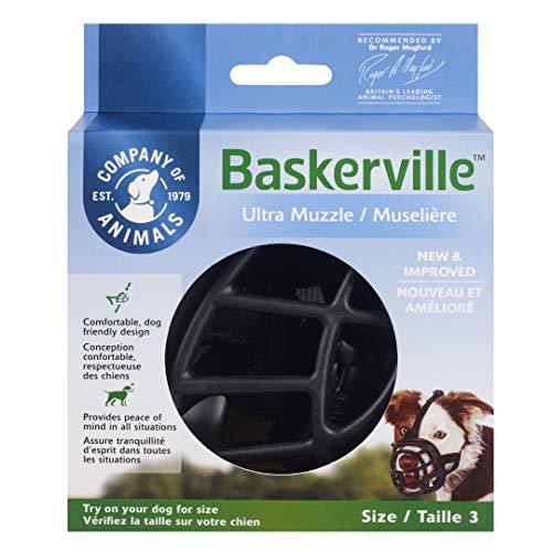 Baskerville Ultra Museruola per Cane, Gomma, Nero, Taglia 3 (lunghezza: 8 cm / larghezza: 28 cm)
