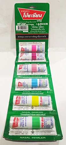 Poysian Mark II Menthol Nasal Inhaler From Thailand (Pack of 6) by Poy Sian