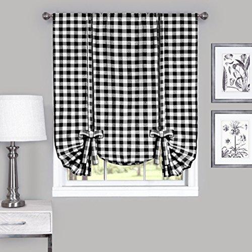 GoodGram Buffalo Check Plaid Gingham Custom Fit Farmhouse Window Curtain Tie Up Shades - Assorted Colors (Black)