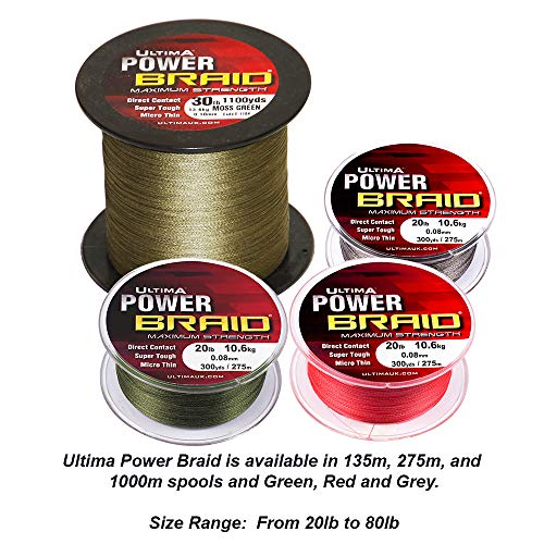 Ultima Power Braid Super Strong Micro Braid Fishing Line - Cloud Grey, 0.23 mm - 80 lb