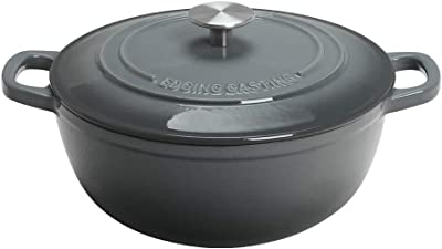 EDGING CASTING Enameled Cast Iron Thermal Cooker with Dual Handle, 3.5 Quart, Gray