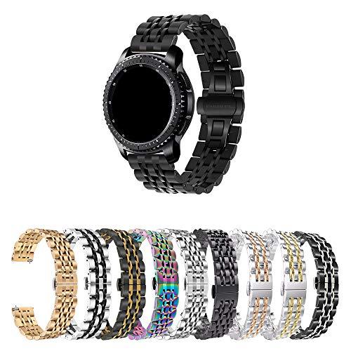 Pulseira 22mm Metal 7 Elos compatível com Galaxy Watch 3 45mm - Galaxy Watch 46mm - Gear S3 Frontier - Amazfit GTR 47mm - Marca LTIMPORTS (Preto)