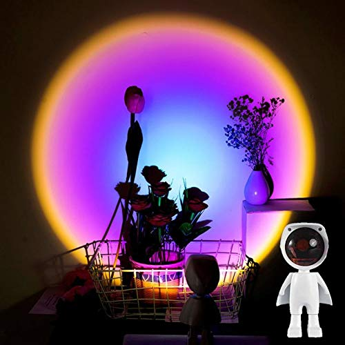 HAOXU Lámpara Lámpara LED Proyector Arco Iris Atmósfera Noche Luz Durable 60 Grados Rotación Puesta de Sol Lámpara para Sala de Estar Dormitorio