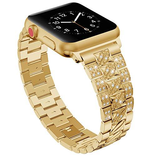 Bands für Apple Watch 38mm 40mm,Gold Damen Edelstahl Sport Uhr Armband für iWatch Series 4 40mm,Metall Bling Armbänder für Series 3 2 1 38mm Edition Nike+