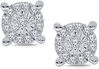 1/10 ct Round White Diamond Miracle Plate 925 Sterling Silver Diamond Cluster Stud Classic Earring For Women