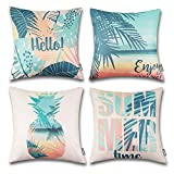 ONWAY Hello Summer Pillow Covers 18x18 Beach Theme Decorative Throw Pillow Covers for Home Patio Party Decor 18x18, Set of 4