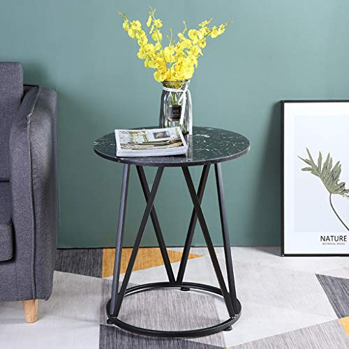 ZRN Simple Marble Round Small Coffee Table Bedside Table Coffee/Snack/Storage Trolly Narrow Table for Home, Living Room, Office