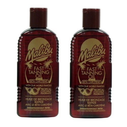 Malibu Fast Tanning Oil with Beta Carotene. Pack Contains 2 Bottles - 200ml