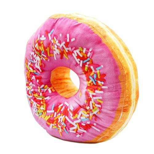 Donut Sitzkissen, Dekokissen, Kuschelkissen, Donat - bunte Streusel rosa Glasur