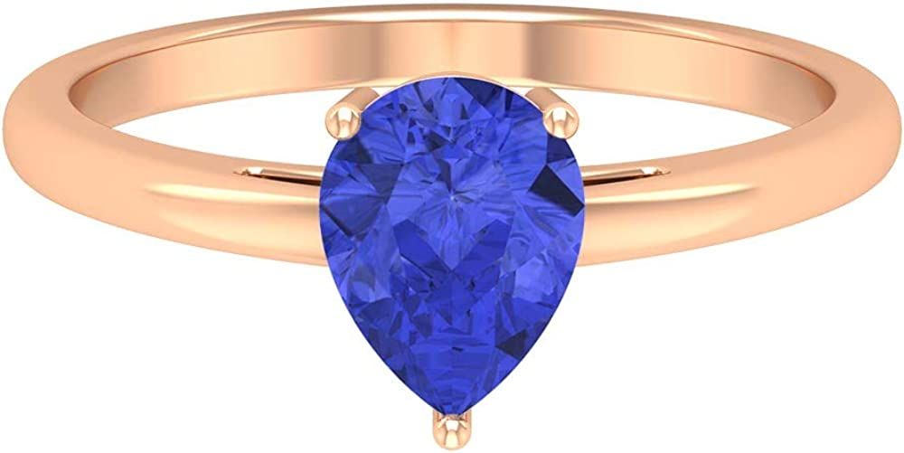 1.15 CT Tanzanite Solitaire Ring, 6X8 MM Pear Cut Engagement Ring, Solid Gold Wedding Ring (AAA Quality), 14K Gold