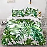 KHDFID Juego de ropa de cama verde, 3D verde tropical jungla, planta, monstera, suave microfibra, funda nórdica y fundas de almohada, estilo nórdico sencillo (A7,140 x 210 cm)