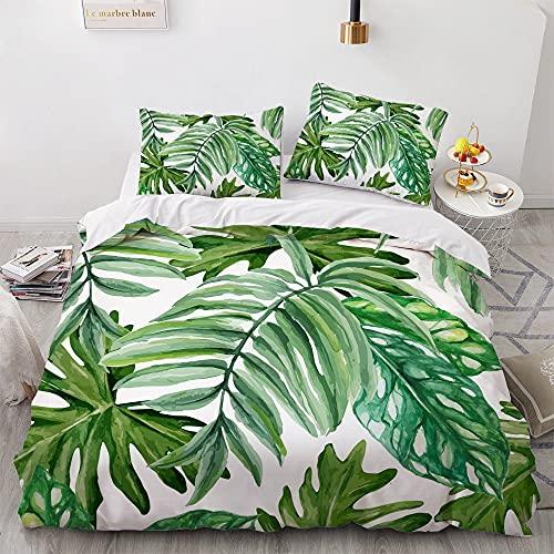 KHDFID Juego de ropa de cama verde, 3D verde tropical jungla, planta, monstera, suave microfibra,...