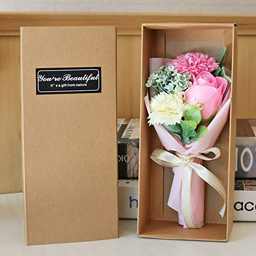Artificial Carnation Simulation Flower Bouquet Soap Bouquet Box Soap Rose Bouquet Red Rose Soap Rose Flower Gift Artificial Forever Rose Bouquet for Mother's Day DIY Kids Present