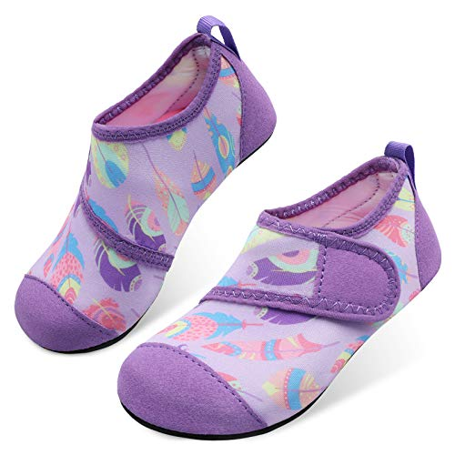 JOINFREE Boys and Girls Summer Aqua Socks Water Shoes for Beach Games Outdoor Purple Leaves 8-8.5 Toddler