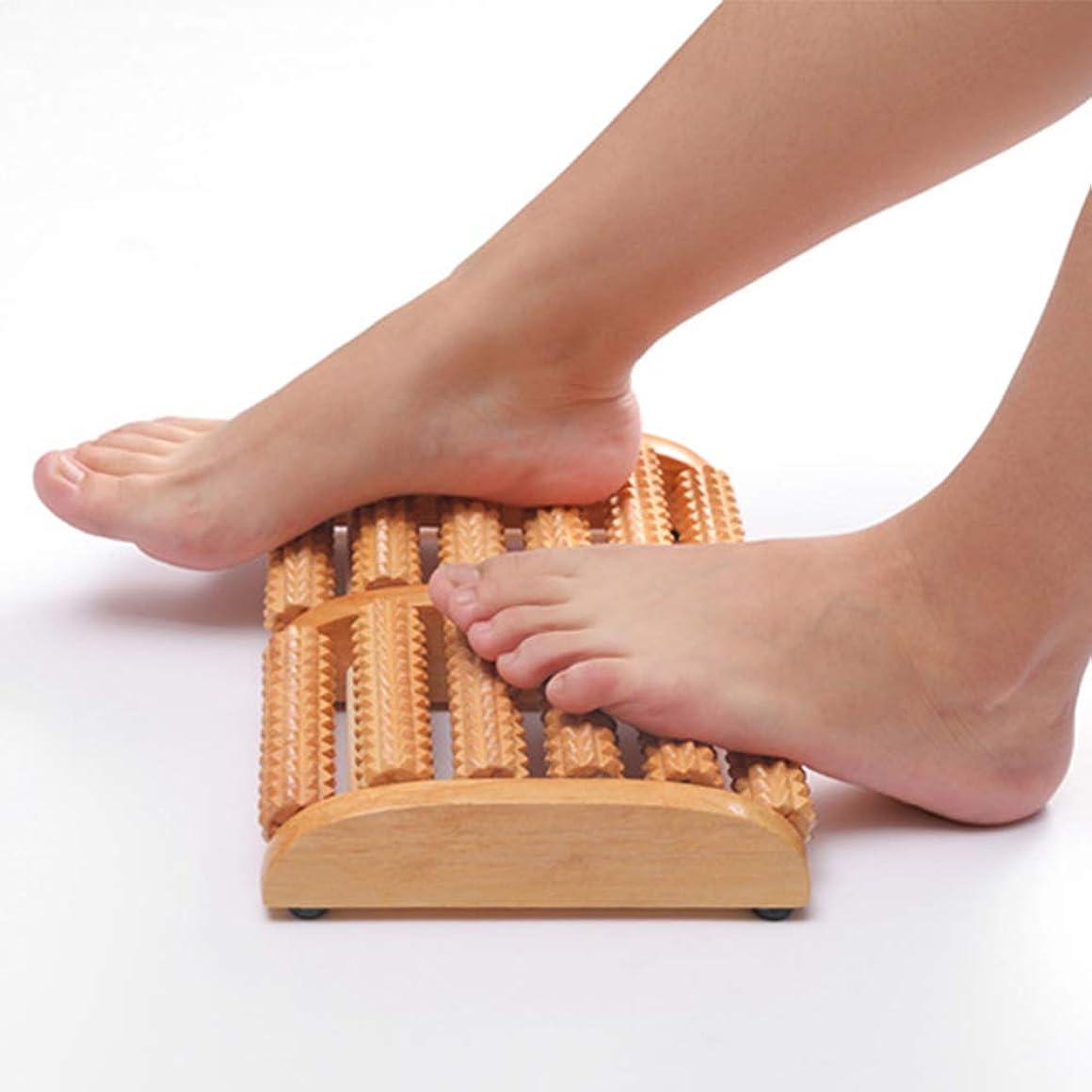 副書き出すオーバーランローラー足のマッサージャーの純木6列の指圧マッサージのローラーの耐荷重の強い家庭用足底筋膜炎マッサージ器(28Cm * 18Cm * 4.3Cm)