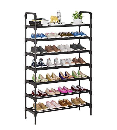 UDEAR Zapatero, Estante de Metal de 7 Niveles, estantes de Almacenamiento de pie con Capacidad para 28-32 Pares de Zapatos para Sala de Estar, Entrada, Pasillo y guardarropa, Negro
