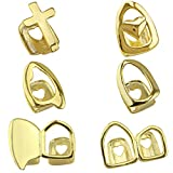 OOCC 6PC 18K Plated Gold Grillz Mouth Teeth Top Tooth Single Grill Cap for Teeth Mouth Party Accessories Teeth Grills