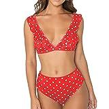 QingJiu Damen Piece Wave V-Ausschnitt Badeanzug Lotus Leaf Bikini Bademode Beachwear Niedriger Kragen Badeanzug (X-Largel, rot)