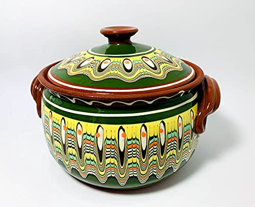 Tontopf, Bräter, Schmortopf mit Deckel, Güvec, 3 Liter, Keramik, Handarbeit, bulgarische Tradition (3 Liter, grün)