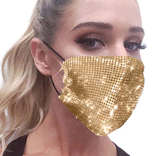 Yokawe Glitter Sequins Face Cover Gold Mesh Design Face Covers Sparkle Metal Masquerade Mask for Women and Girls