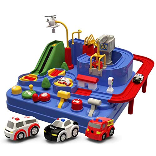 JIEHED Car Adventure Toy, Children Railway Track Interactive Toys,Smart Wheels Park and Learn Deluxe Garage Mini Pull Back Car Toys Manipulative Rescue Squad Adventure Train Track Set Racing Gifts