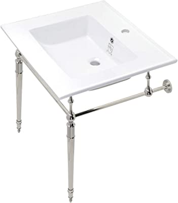 Kingston Brass KVPB252271PN Edwardian 25-Inch Vanity Top with Brass Console Legs, White/Polished Nickel