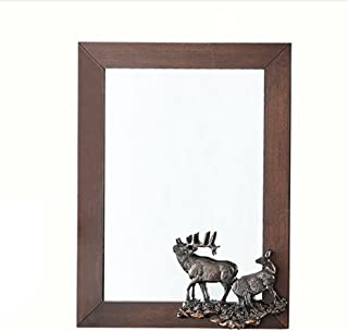 WYXIAN Mirror Rectangle Chic Vintage Wall Hanging Dressing Makeup Brown (Color : Brown, Size : 46X61CM)