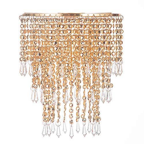 Waneway Pantalla de Lámpara de Techo con 3 Niveles de Cuentas, Diseño de Gotas Acrílicas, con Marco Dorado y Cuentas, 22 cm de Diámetro, Oro Rosa