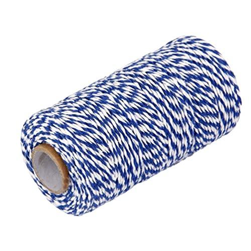 Cuerda de algodón de 2 mm de grosor, 200 m de largo, cuerda de embalaje para manualidades, para jardinería, repostería, cajas de regalo (amarillo+blanco) (color: azul + blanco, tamaño: 100 m)