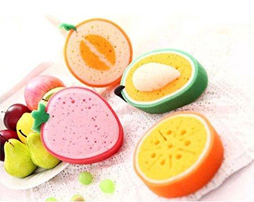 E-meoly Lot de 4 Motif fruits épaissir et nettoyage à laver éponges, éponges multi-usage Lavage de la vaisselle