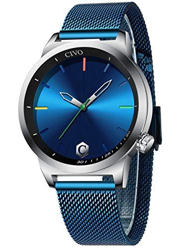 CIVO Relojes Hombre Reloj de Pulsera de Hombre Azul Minimalista Deportivo Ultra Fino Impermeable Relojes de Moda Simple diseño Negocios Casuales Inoxidable Malla Cuarzo Analógico
