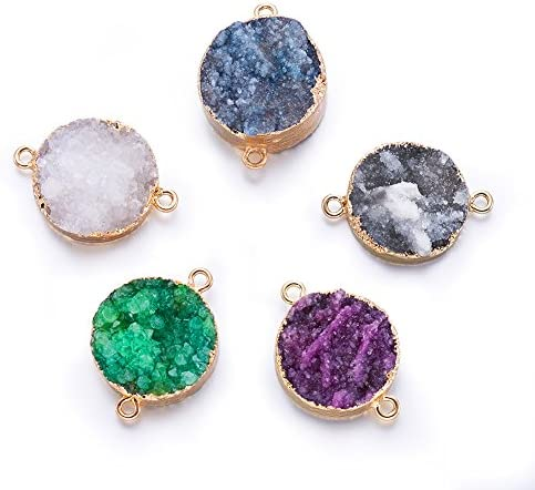 Fashewelry 5Pcs Natural Oval Druzy Agate Stone Pendant Links Healing Chakra Gemstone Charm Connectors 27-29x14-18mm for Jewelry Making Hole: 2mm (Random Mixed Colors)