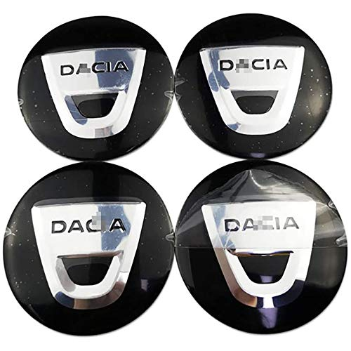 Coche 4 Piezas 56mm,Tapas centrales Aleación Tapacubos con Emblema De Insignia Embellecedor Central De Llanta De Rueda Cubre Accesorios, para Dacia Duster Logan Sandero Dokker