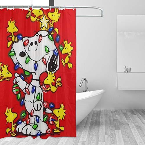 LMHBLTOP Snoopy Duschvorhang, wasserdicht, lustig, Badezimmer-Dekoration, 168 x 183 cm, 12 Stück