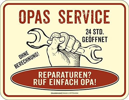 RAHMENLOS Opa's Service Blechschild