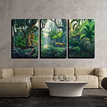 wall26 - 3 Piece Canvas Wall Art - Illustration - Fantasy Forest Background Illustration Painting - Modern Home Art Stretched and Framed Ready to Hang - 24 x36 x3 Panels