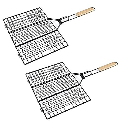 HANHAN Lot de 2 grilles pour barbecue anti-adhésives (40 x 30 cm).