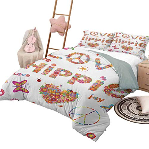 Daybed Quilt Set Groovy Quilt Set for Children Love Hippie Flowers Festive Season Ladybird Ladybugs Nature Flourishes Art Print King Size Multicolor