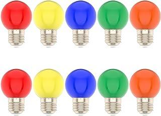 10X E27 Bombilla Color 1W Lámpara Color Mezclado 100LM Equivalente a Halógenas 10W Para Decoración AC220V-240V Rojo, Amarillo, Azul, Verde Y Naranja