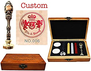 MNYR Retro Custom Name Crown Shield Family Crest Wax Seal Stamp Customize Curvy Monogram Personalized Design Logo Wedding Wax Seal Sealing Stamp Invitation Melting Spoon Stick Candle Wood Box Gift Set