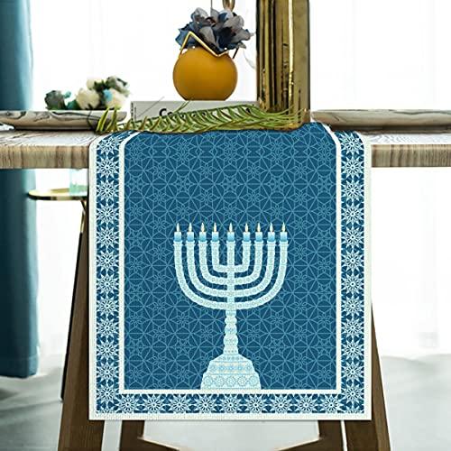 Jiudungs Linen 13x72'' Hanukkah Table Runner Chanukkah Table Decor Jewish Hanukkah Star of David Menorah Table Decoration for Home Kitchen Dining
