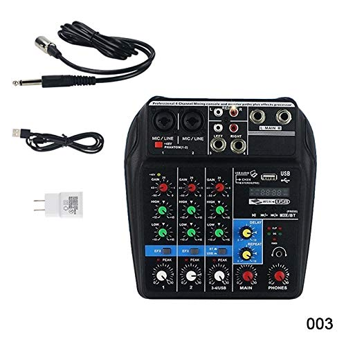 Dastrues Mini USB Audio Mixer Amplifier Amp Bluetooth Board 48V Phantom Power 4 Channels for DJ Karaoke