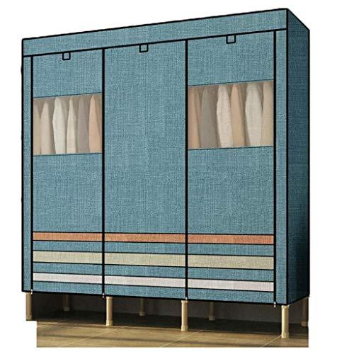 QIFFIY Armadio Portable Armadio di Vestiti Armadio Bagagli Doppio Stelo Indipendente Armadio Veloce e Facile da Assembl Abbigliamento Governo di immagazzinaggio Guardaroba (Color : Blue)
