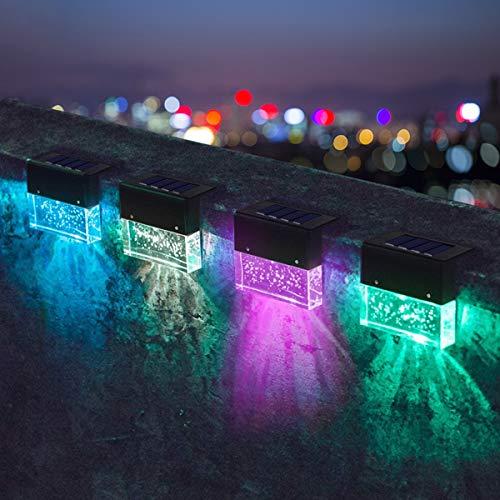 HIMNA PETTR Luz Solar Exterior Jardin, IP55 a Prueba De Agua Luz Solar Piscina con Función De Cambio De Color RGB Usado para Escalera Cerca, Interruptor Automático Lampara Exterior,4 Pcs