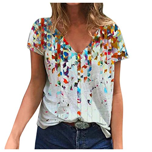 Pas Cher T Shirt Manche Courte Femme,Tee Shirt Chemise Rayée Oversize Blouse Fleuri Tunique Chemisiers Leopard Haut Chic Tendance Top Epaule Dénudée Été T Shirt Imprimé,2021 Nouveau été