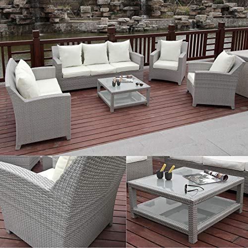 Hansson Garten Lounge Sitzgruppe Polyrattan Sofa Doppelsofa Sessel Hocker & Tisch z. Wahl, Fertig montiert! (Set aus 2 x Sessel, 1 x Hocker & Tisch)