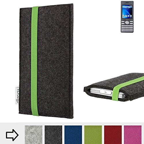 flat.design Handy Hülle Coimbra für Kazam Life B6 handgefertigte Handytasche Filz Tasche fair grün dunkelgrau