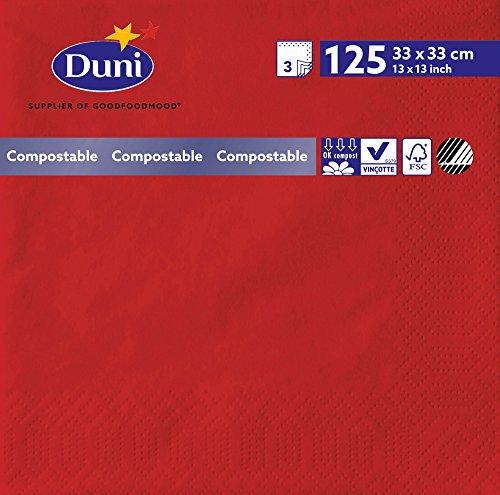 Duni 2612 3 plis Serviettes en papier, 33 cm x 33 cm, Rouge (lot de 1000)