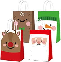 Gift Bags Goody Bags with Handle 4Pcs Christmas Kids Toys Bags Kids Fabric Presents Handbags Holiday Santa Claus Reindeer Snowman Bear Xmas Gift Package Candy Sweet Bags for Wedding Anniversary