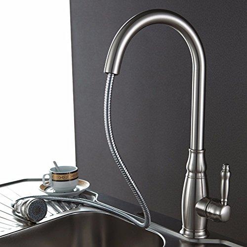 Keukenkraan waterkraan keuken met uittrekbare dubbele spoeldouche koud en warm water uittrekbare spoelbak wastafelkraan hete en koude koperen kraan met douchekop telescopische kraan D